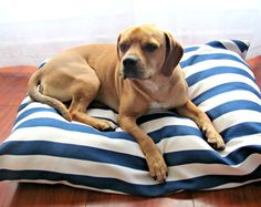 Dog Bed Cover Navy Nautical Beach Blue White by PuppyPillowsPlus, $44.95