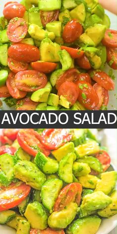 This Cucumber Tomato Avocado Salad is an easy, scrumptious summer salad. It's crunchy, fresh, and made with everyday ingredients. It's a family favorite. Avocado Salad Recipes, Healthy Salad Recipes, Low Carb Recipes, Cucumber Salad, Vegetarian Recipes, Cooking Recipes, Cooking Tips, Spinach Salads, Crab Salad