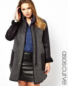 Image 1 - Exclusivité ASOS CURVE - Manteau avec poches en PU