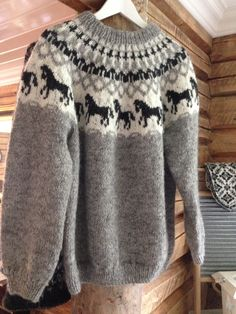 Genser med hester i lettlopi Pullover, Couture, Knitting, Sweaters, Fashion, Tights, Moda Femenina, Dots, Moda