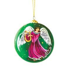 """Unique, hand-painted design makes this ornament something special for the season. Comes in a box for easy gifting and storing. 3 1/2"""" diam. Glass. Imported.\Ornament is for decorative use only."""