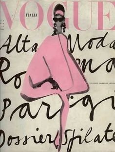 Vintage-Vogue-Poster-Vogue-Italia-Lady-in-Pink-Italy-Cover-Print-or-Canvas