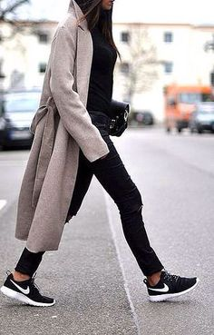 oatmeal coat, leather pants & Nike sneakers #style #fashion #streetstyle