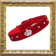 Royal majestic crystal dog collar, made from luxurious velvet look material, with crystal crown