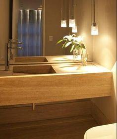 lavabo com iluminação pontual.