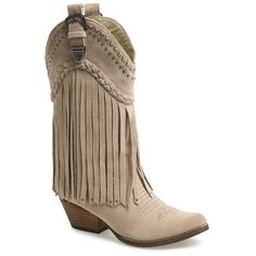 Women's Very Volatile 'Pasa' Suede Western Boot ($115) ❤ liked on Polyvore featuring shoes, boots, beige, mid-calf boots, cowboy boots, mid calf fringe boots, beige boots, mid calf boots and cowgirl boots