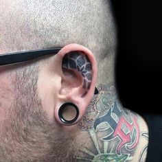 Mens Floral Dotwork Inner Ear Tatoos