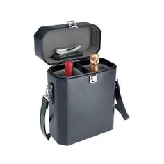"""Picnic Time Adagio 2 Bottle Wine Tote: Black by KegWorks. $77.16. Insulated to keep wines at the perfect temperature.. Made of premium leatherette.. Includes stainless steel corkscrew.. Dimensions: 10 1/4""""W x 15 1/2""""H x 5 1/2""""D.. Equipped with removable divider.. Tote the good stuff in style with this 2 bottle wine tote from Picnic Time. Wine, champagne and spirits stay protected and remain at the perfect temperature in this fully insulted case. As part of the premier L..."""
