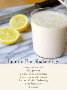 Bar Shakeology Get zesty! Try this delicious Lemon Bar Shakeology to give your day an invigorating boost.Get zesty! Try this delicious Lemon Bar Shakeology to give your day an invigorating boost. Protein Smoothies, Smoothie Proteine, 310 Shake Recipes, Protein Shake Recipes, Smoothie Recipes, 21 Day Fix, Nutrition Education, Child Nutrition, Nutrition Month