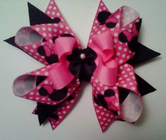 Handmade Boutique Style Stacked Hair Bow by Tu2Rific on Etsy, $4.25