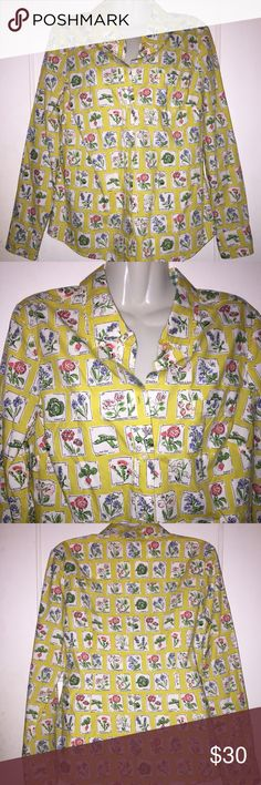 US 8 Boden Yellow Plant Printed Button Up Shirt In excellent condition Boden Tops Button Down Shirts