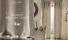 Washed Belgian Linen Drapery - LOVE  www.yournestdesign.blogspot.com