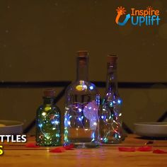 Add these ingenious and enchanting Cork Wine Bottle String Lights to empty wine bottles and create simply stunning decorative accents for any occasion Empty Wine Bottles, Recycled Wine Bottles, Wine Bottle Art, Lighted Wine Bottles, Wine Bottle Decorations, Painted Glass Bottles, Bottle Bottle, Bottles And Jars, Jar Lights