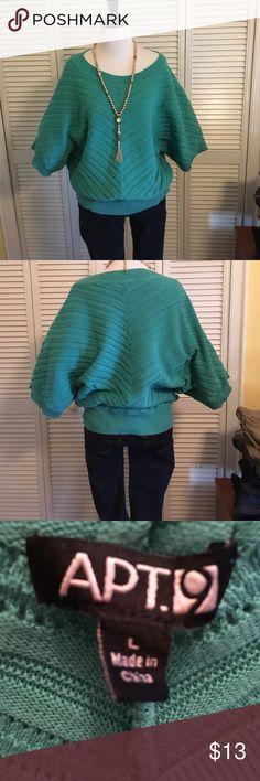 APT. 9 size Large sweater APT. 9 size large sweater with bat wings.Beautiful sea green color. Apt. 9 Sweaters Crew & Scoop Necks