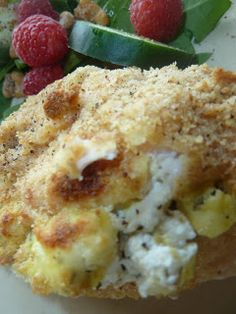 Goat Cheese Stuffed Chicken. ALso excellent baked or drilled without the dredge of the breadcrumbs. So devine