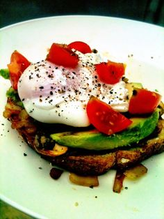 Whole wheat toast (no butter), topped with grilled onions & mushrooms (fried up in some olive oil), avocado, a poached egg, and cherry tomatoes. Oh and a bit of salt and pepper :)