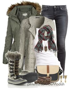 Khaki Green Winter Outfit Idea