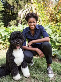 Bo Obama and mom-in-chief in the White House garden