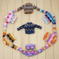 Blythe Multicolor Hand Knit Retro Sweaters in by TwinFlameBoutique