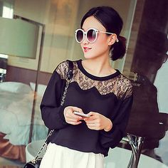 New Women Lady Casual Chiffon T Shirt Sexy Hollow Splice Long Sleeve Tops Blouse - EXCLUSIVE DEAL! BUY NOW ONLY $4.69