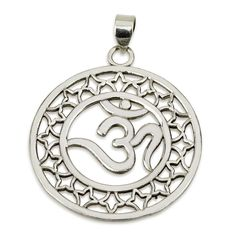 "Om Pendant in Stars Circle Sterling Silver 925 Size 1.4"" Sacred Geometry #MAGAYA #Pendant"