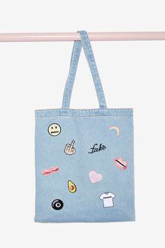 Local Heroes In a Mood Denim Patch Tote Bag | Shop Accessories at Nasty Gal!