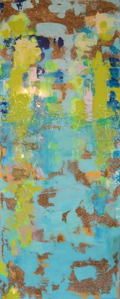 Sold Acrylic Abstract Art Canvas Painting Aqua by BlueberryGlitter