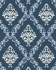 Damask Pattern Printable Wall Art Navy Blue Set of 2 Vintage Geometric In. Pretty Phone Wallpaper, Damask Wallpaper, Pattern Wallpaper, Batik Pattern, Pattern Art, Pattern Design Drawing, Stencil Patterns, Damask Patterns, Paint Designs