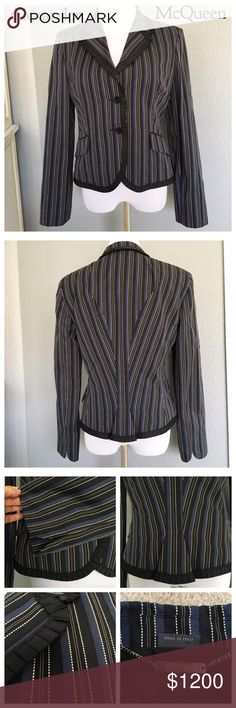 "Alexander McQueen Striped Blazer/Ruffled Trim/NWT Spectacular, $1630 NWT Authentic McQueen Blazer in Navy/Blk w cream stitching, black ruffed grosgrain detail.  So stunning, easy to dress up or down. Sharp tailoring features two faux flap pockets, fastened with double button finish, slight gathering in the back for added femininity. Pair with anything from jeans and a tee to a pencil skirt. Jacket and lining are 100% cotton. Rare/2007 Collection. 46IT is US 10. Armpit seam to seam appx 19""…"