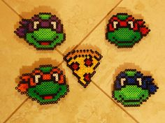 TMNT & Pizza Perler Beads