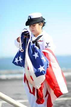 The American flag is retrieved during colors aboard the aircraft carrier USS George H. Navy Military, Military Women, Military Gear, Go Navy, Navy Mom, American Pride, American Women, American Flag, Army Usa