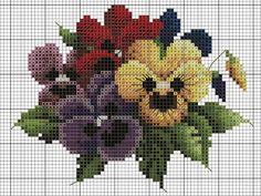 Cross Stitching, Cross Stitch Embroidery, Cross Stitch Patterns, Cross Stitch Rose, Cross Stitch Flowers, Needlepoint Patterns, Pansies, Plastic Canvas Patterns, Christmas Cross