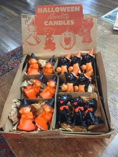Vintage GURLEY Halloween Novelty Candles with Retail Display Box. Each candle measures approx 3 tall. Box has folds, creases, tears & rips. Box measures X halloween candles Vintage Halloween Images, Vintage Halloween Decorations, Halloween Candles, Retro Halloween, Halloween Pictures, Vintage Holiday, Spooky Halloween, Holidays Halloween, Halloween Treats
