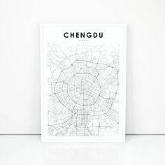 Chengdu Map Print, China Map Art Poster, City Street Road Map Print, Nursery Room Wall Office Decor, Printing Services, Online Printing, China Map, Poster City, Printable Maps, Chengdu, Map Design, City Maps, Map Art