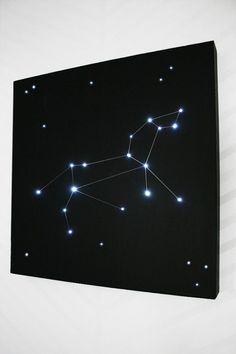 How to build a constellation light for a little astronomy in the bedroom. Materials you need: Black foam board,  Battery powered LED lights,  Box cutter/X-Acto knife, Hot glue gun,  Awl/screwdriver, Silver Sharpie: