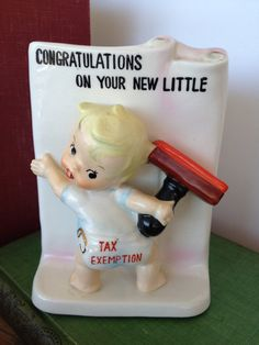 new baby gift, baby shower, nursery decor, baby boy or baby girl!  vintage! $22.00  https://www.etsy.com/listing/179432689/vintage-baby-gift-planter-new-little-tax?ref=shop_home_active_9
