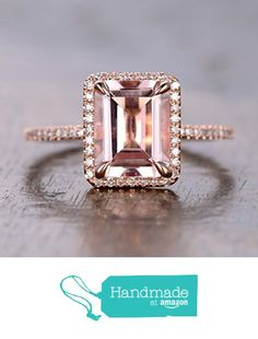 $658 Emerald cut Morganite Engagement ring, 8x10mm, Accent Pave diamonds, 14K Rose Gold http://www.amazon.com/dp/B01GR7UOPA/ref=hnd_sw_r_pi_dp_ns5vxb0S8ZRYG #handmadeatamazon
