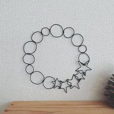ワイヤークラフト(お星さまのリース)♡ #ワイヤークラフト #ワイヤーアート #ハンドメイド #リース #オブジェ #壁飾り