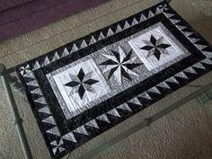 Black and White Lemoyne Star Table Runner
