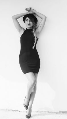 black and white little black dress hat