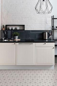 Buy Floor Pops Kikko Floor Tiles from the Next UK online shop Kitchen Floor Tile Patterns, Modern Kitchen Tiles, Modern Floor Tiles, Patterned Kitchen Tiles, Grey Kitchen Designs, New Kitchen, Modern Shaker Kitchen, Very Small Kitchen Design, Kitchen Reno
