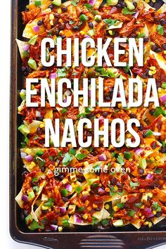 These chicken enchilada nachos are fun, flavorful, and fully-loaded with all of your favorite chicken enchilada ingredients! (They're also naturally gluten-free when made with GF enchilada sauce. Mexican Dishes, Mexican Food Recipes, Nacho Recipes, Enchilada Ingredients, Great Recipes, Favorite Recipes, Buffet, Chicken Enchiladas, Main Meals