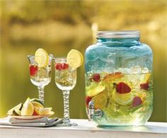 Add a bit of southern charm to your outdoor or indoor party with this blue mason jar beverage server. Invoking a classic sense of tradition, This mason drink dispenser showcases 2 gallons of you favorite cocktail or iced tea, lemonade and apple cider. $29.99