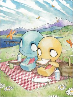 Picnic time - cute kawaii - drawing - emo scene