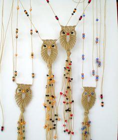 Macrame jewellery. Macrame owl. Adjustable necklace. Gypsy necklace. Bohemian jewellery. Tribal pendant.