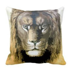 Painting from vector art male lion pillows