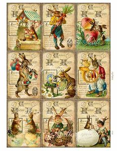 Digital Collage Sheet #155 Vintage Easter Egg  This listing is for a charming collection of antique Easter images! The background is a stained, aged recipe page for dyeing eggs.  The sheet measures 8.5 x 11 inches. Each of the nine images measures 2.5 x 3.5 inches. Crisp, colorful and high