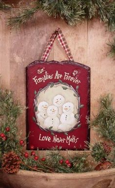 Country Primitive Winter Christmas FAMILIES ARE FOREVER SNOWMAN SLATE Plaque