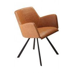 Vibe stoel | Cognac/bruin PU leder | Dan-Form Dineren wordt weer extra comfortabel met de armleuningstoel Vibe. De eetkamerstoel is verkrijgbaar in de kleuren cognac/bruin en grijs pu leder. De stoel heeft zwart metalen poten.