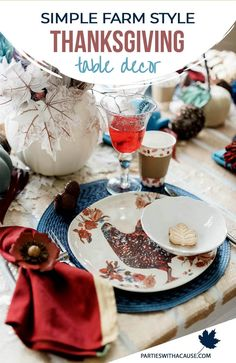 Try rustic Thanksgiving table decorations this year! In a non-traditional blue with pheasant feathers and white and blue pumpkins. A simple yet beautiful Thanksgiving table can stay on a budget when you shop your house and diy with Dollar Tree. Get all the details at PartiesWithACause.com #thanksgivingtable #falltablescape #tabledecor Rustic Thanksgiving, Thanksgiving Table Settings, Thanksgiving Traditions, Thanksgiving Treats, Thanksgiving Tablescapes, Dinner Party Table, Dinner Parties, Holiday Decorating, Decorating Ideas